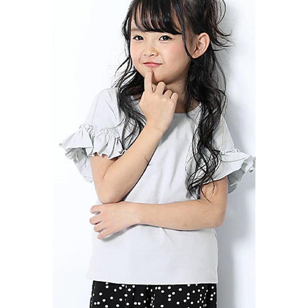 日本 devirock - 純棉 美背大蝴蝶結荷葉邊短T-冰河藍