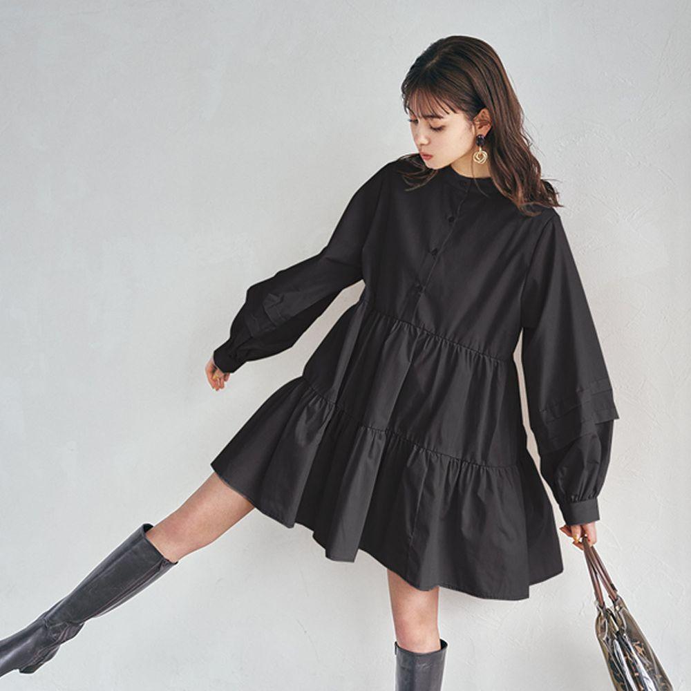 日本 GRL - 前後2way層次感蛋糕長袖洋裝-黑