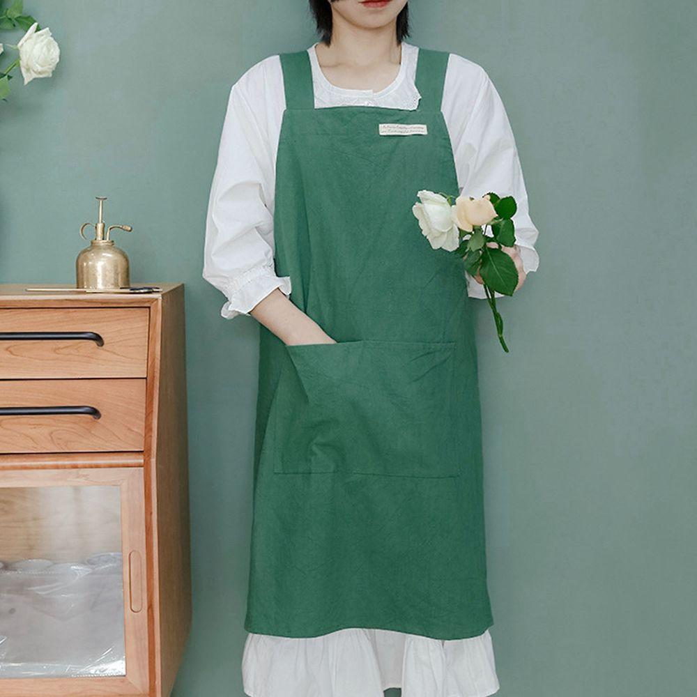 簡約風口袋棉麻圍裙-綠色