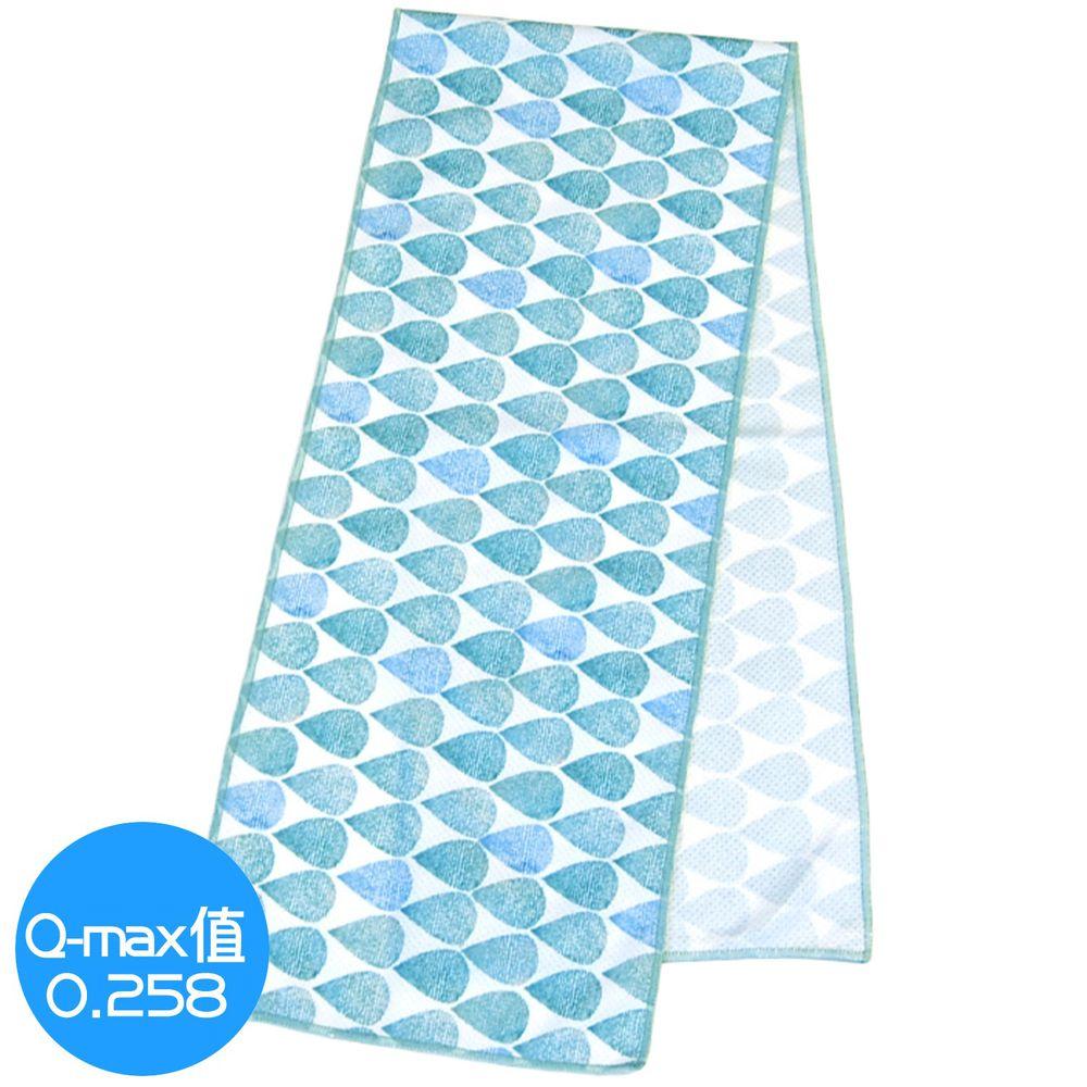 日本 DAIKAI - 抗UV接觸冷感 水涼感巾-夏日雨點-水藍 (L(100x20cm))