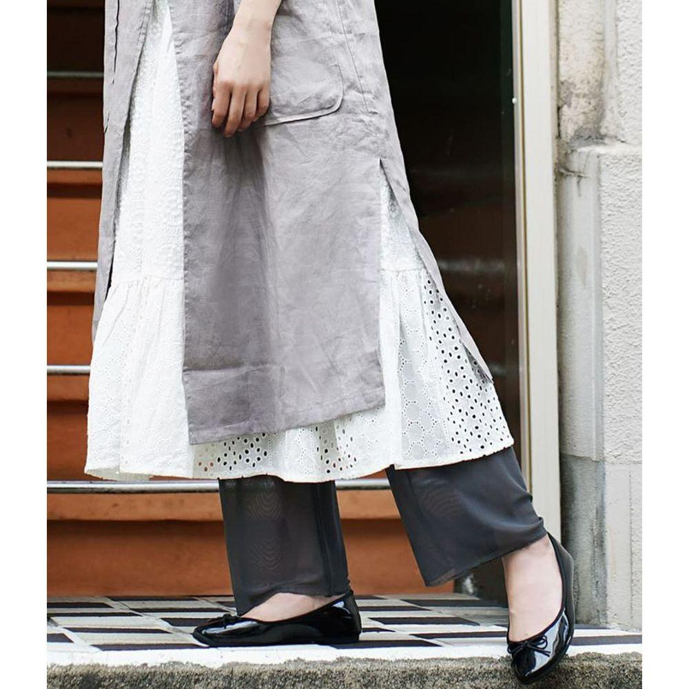 日本 zootie - 時尚透膚層次感穿搭內搭寬版長褲-網紗-深灰