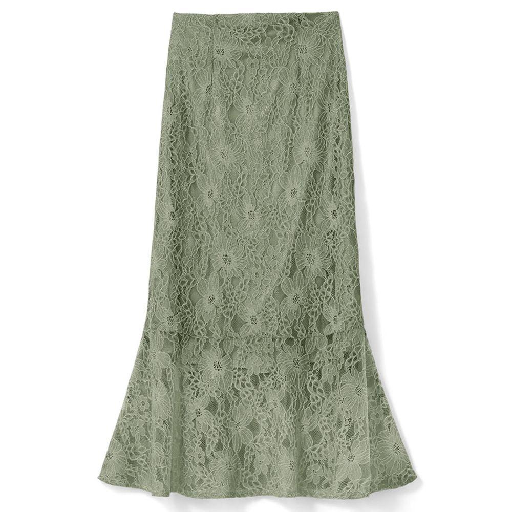 日本 GRL - 古典優雅蕾絲魚尾長裙-清新綠
