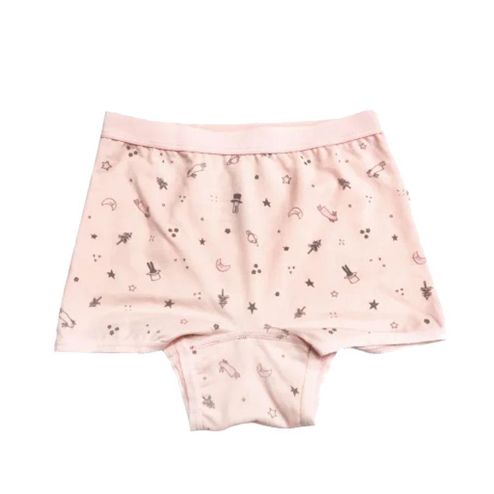 貝寶 - 天絲棉舒膚平衡童女四角褲-新小兔子-粉橘