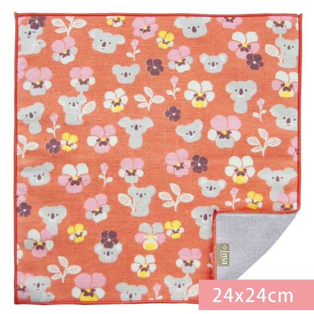 日本代購 - 【ima+】日本製今治純棉手帕-無尾熊-粉橘 (24x24cm)