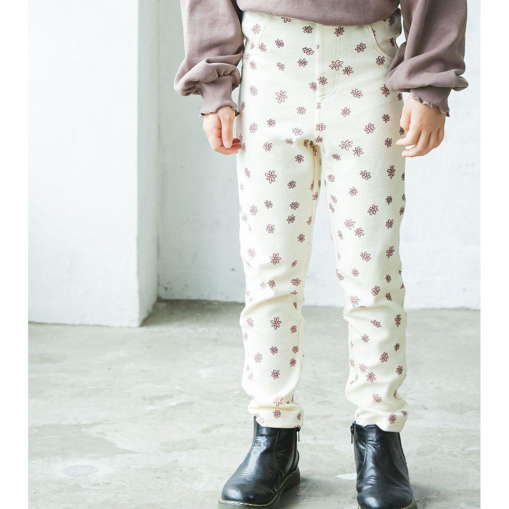 日本 PAIRMANON - 柔棉超彈系列 伸縮貼身長褲-花朵-米紫