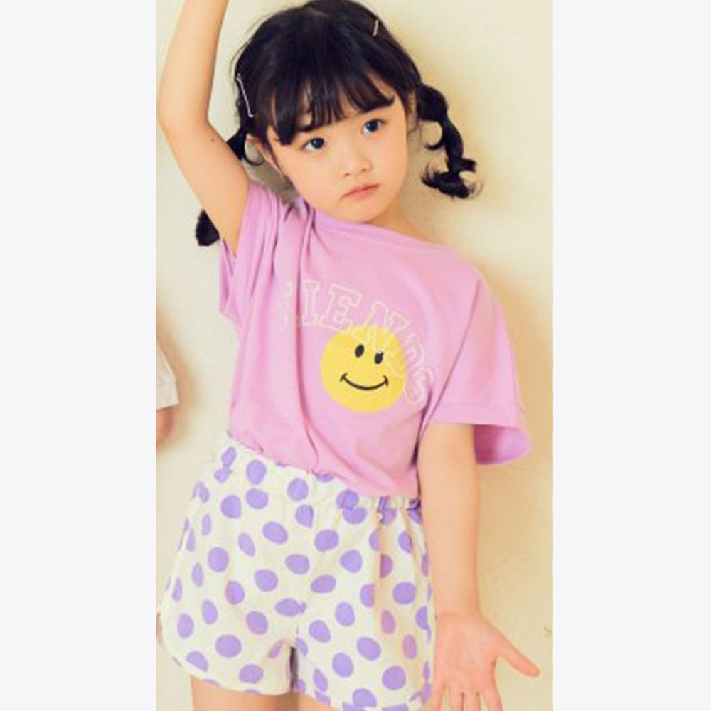 韓國 Hanab - 波點笑臉套裝-粉紫