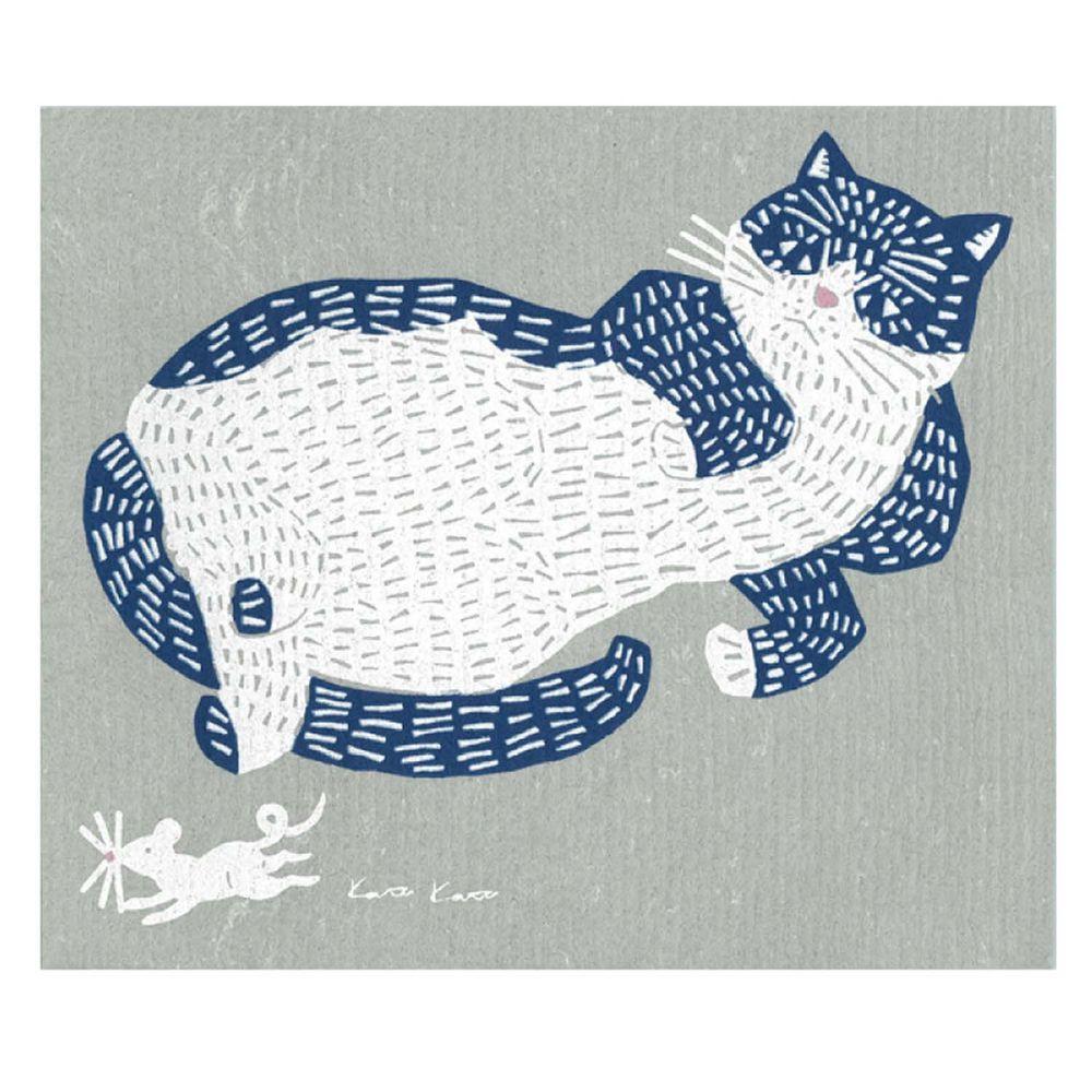 日本代購 - 德國製 北歐風環保高吸水海綿抹布/吸水巾-kata kata 慵懶小貓 (30.4x25.7cm)