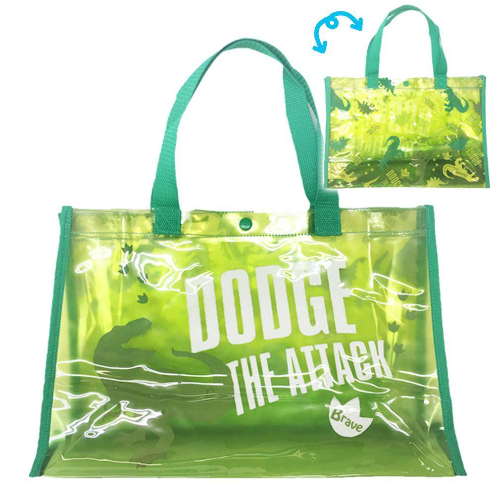 日本服飾代購 - 防水PVC游泳包(雙面圖案設計)-恐龍-綠 (25x36x13cm)