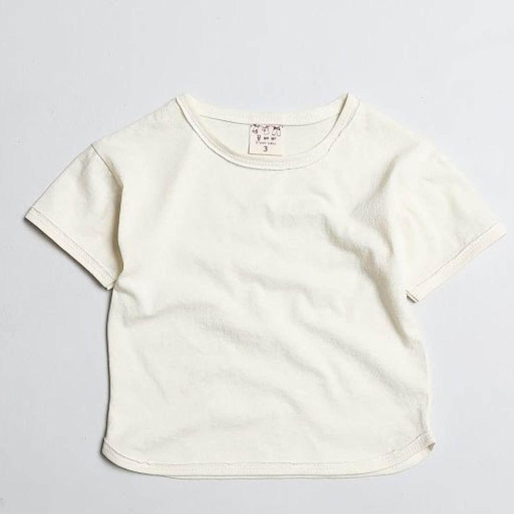 韓國製 - 水洗加工布寬鬆純棉T-奶油白