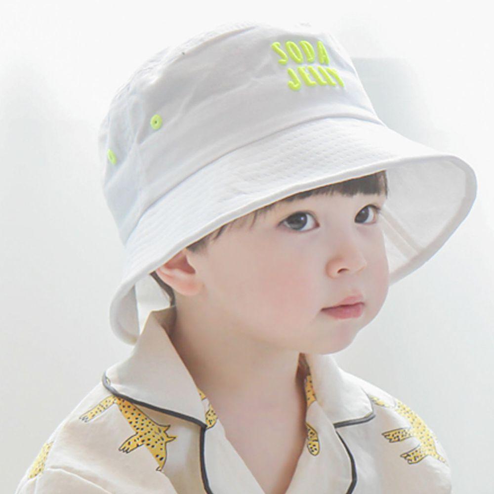 韓國 Babyblee - 活力汽水漁夫帽/遮陽帽-白 (頭圍:52cm)