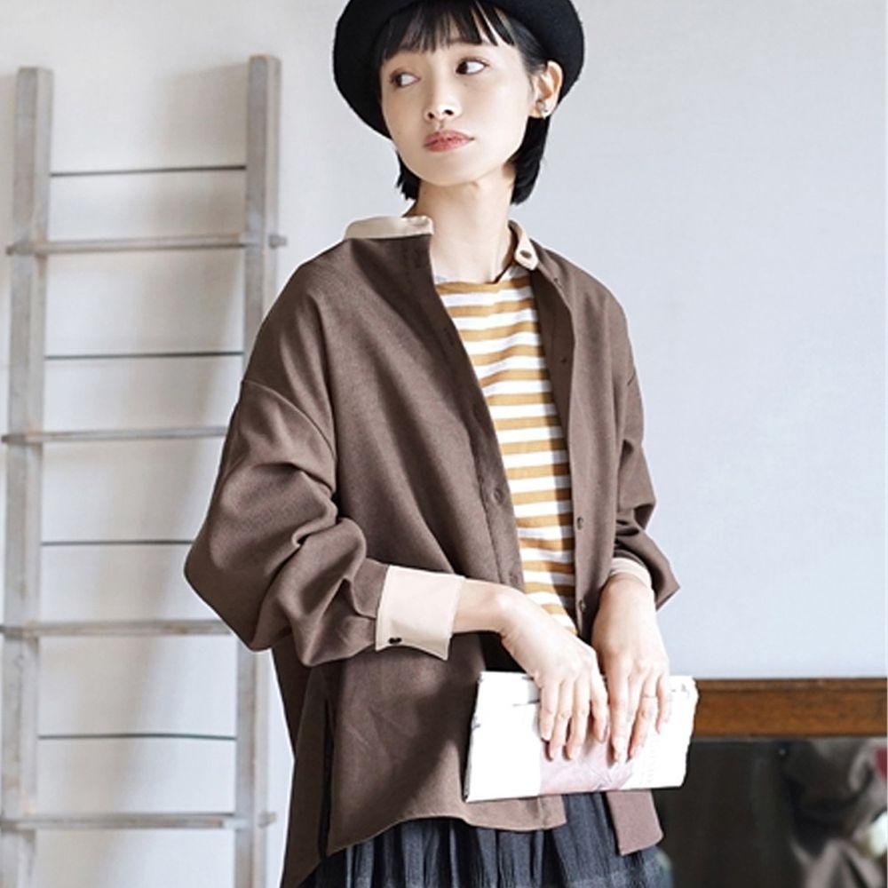 日本 zootie - 知性撞色異材質拼接微起毛襯衫/外套-咖