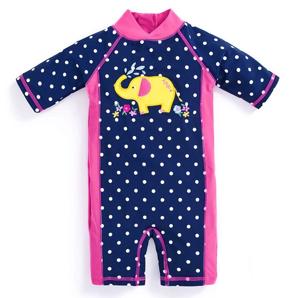 英國 JoJo Maman BeBe - 嬰幼兒/兒童連身式防曬泳裝-黃色大象