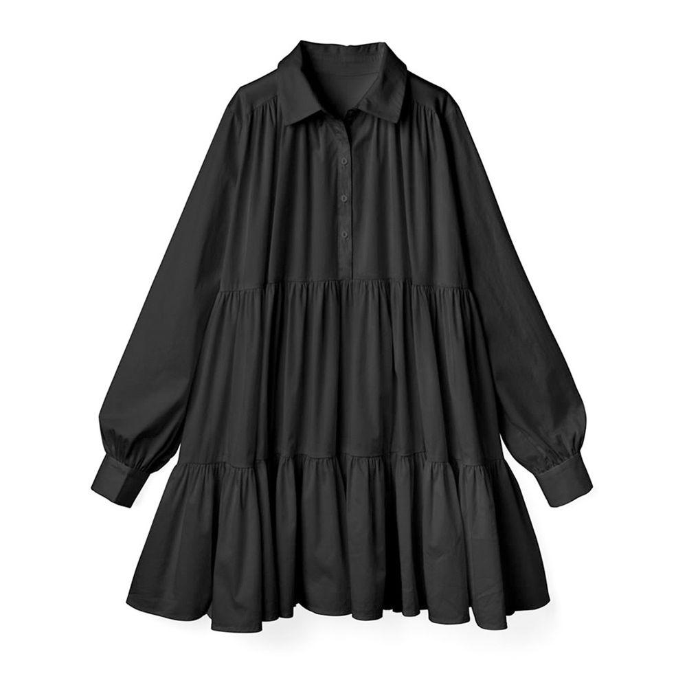 日本 GRL - 甜美慵懶傘狀襯衫洋裝-黑