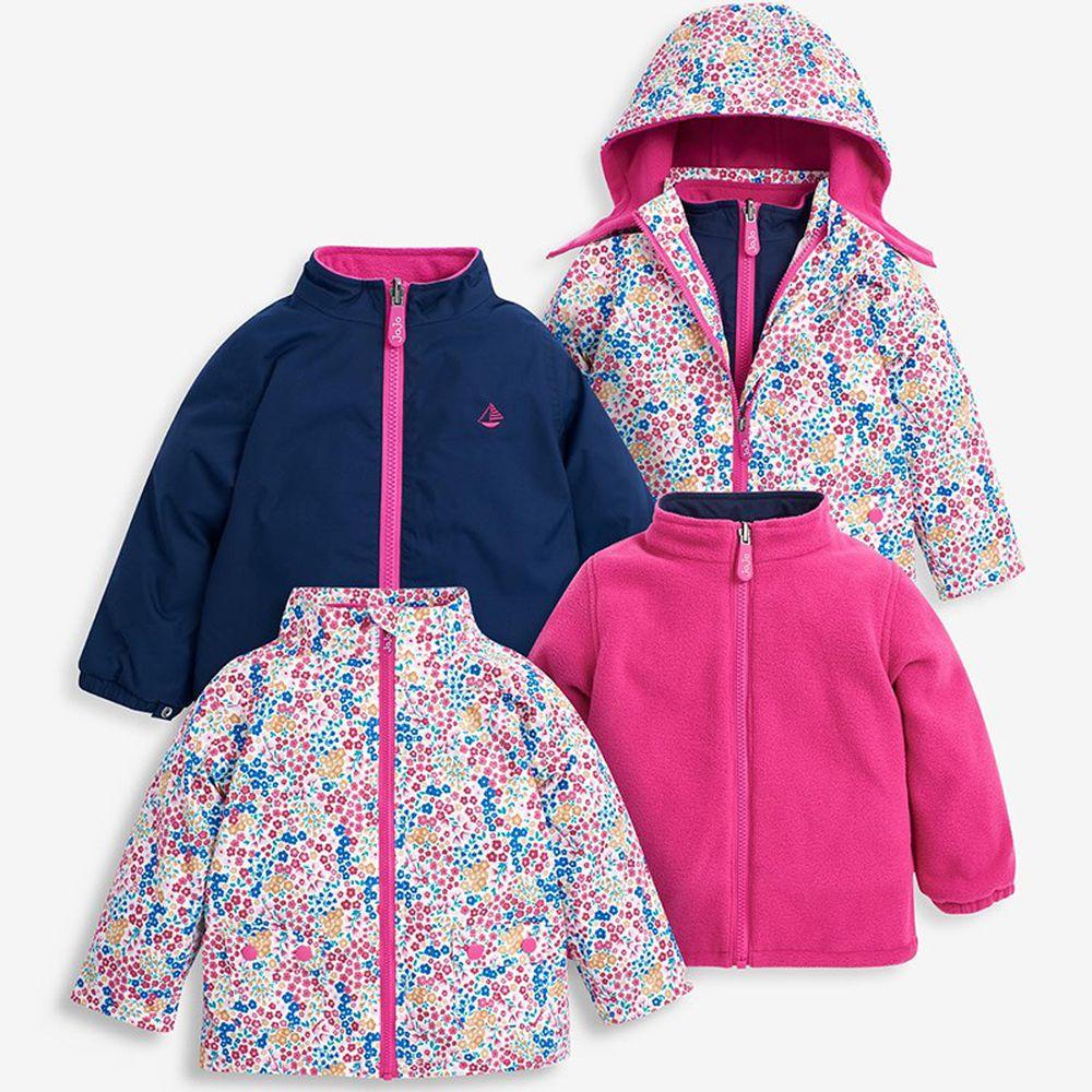 英國 JoJo Maman BeBe - 四合一多功能防水保暖連帽外套-粉紅櫻花草