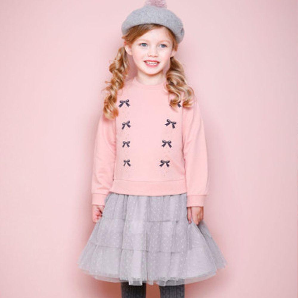 韓國 Jelispoon - (假兩件)蝴蝶結網紗蛋糕裙洋裝-粉紅X灰