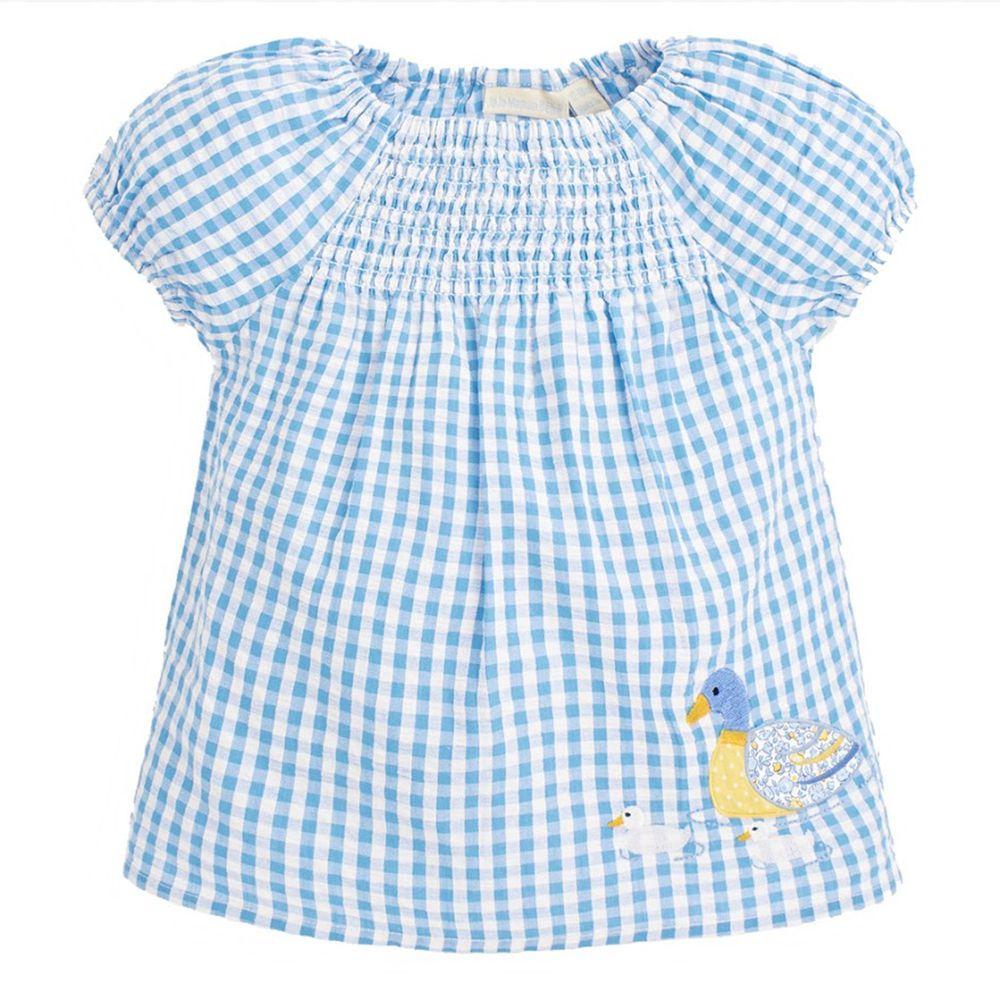 英國 JoJo Maman BeBe - 超優質嬰幼兒/兒童100% 純棉短袖上衣-優雅藍鴨