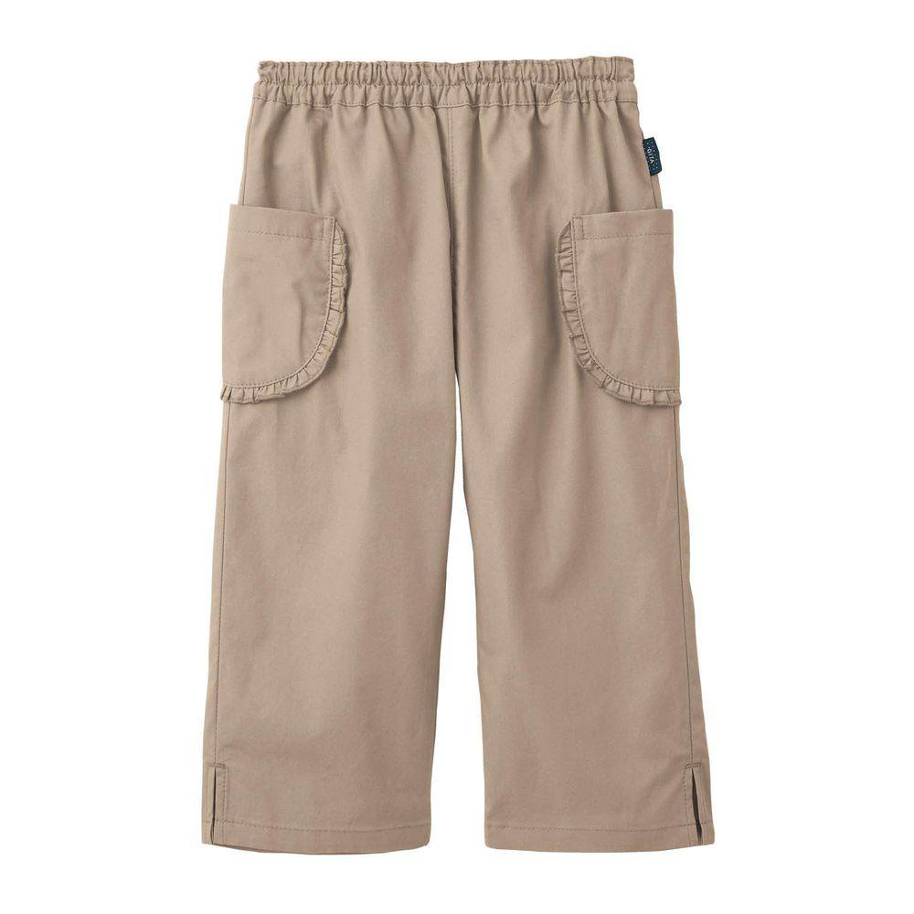 日本千趣會 - GITA 純棉接觸冷感七分褲-荷葉邊口袋-杏