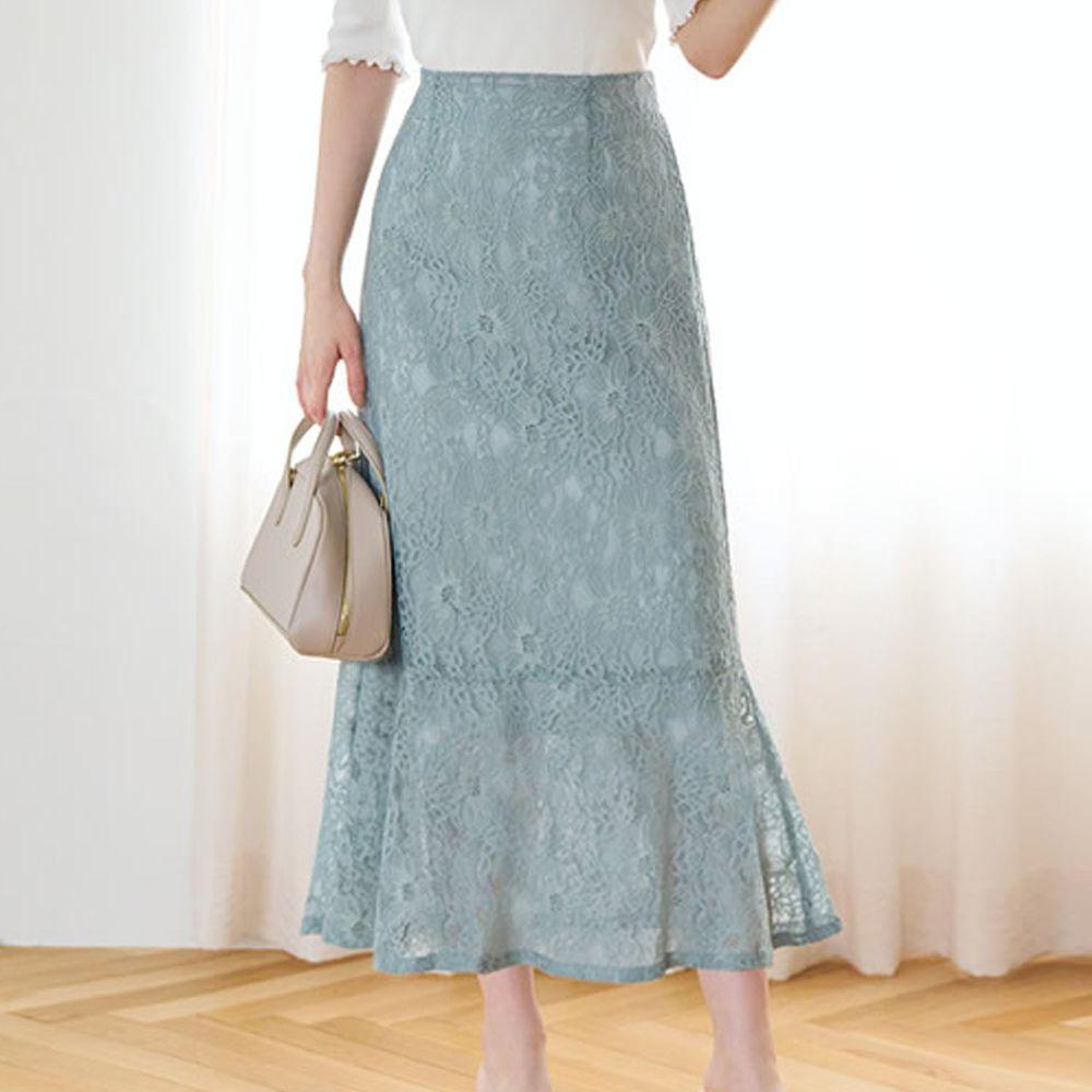 日本 GRL - 古典優雅蕾絲魚尾長裙-薄荷綠