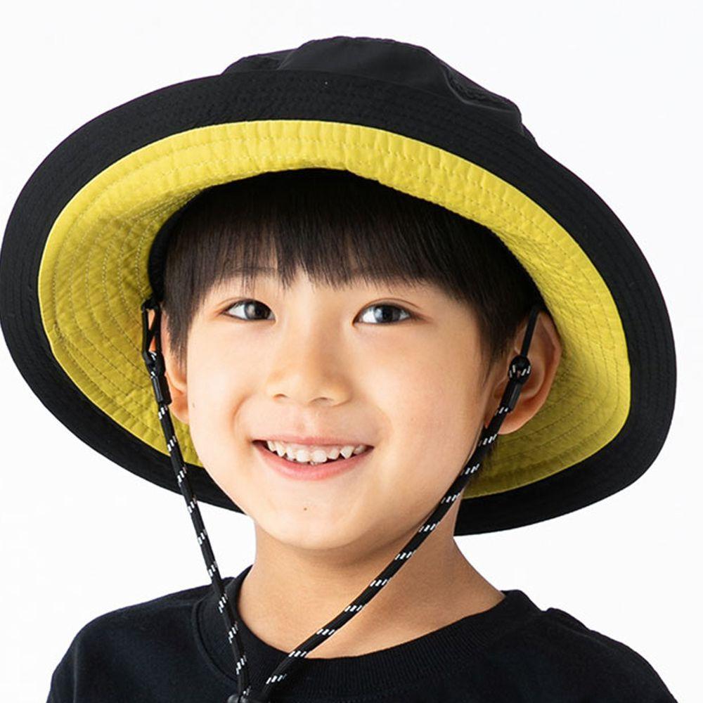 日本 irodori - 【irodori】抗UV可捲收防潑水遮陽帽(附防風帽帶)-兒童款-黑X芥末黃內裏 (54cm)