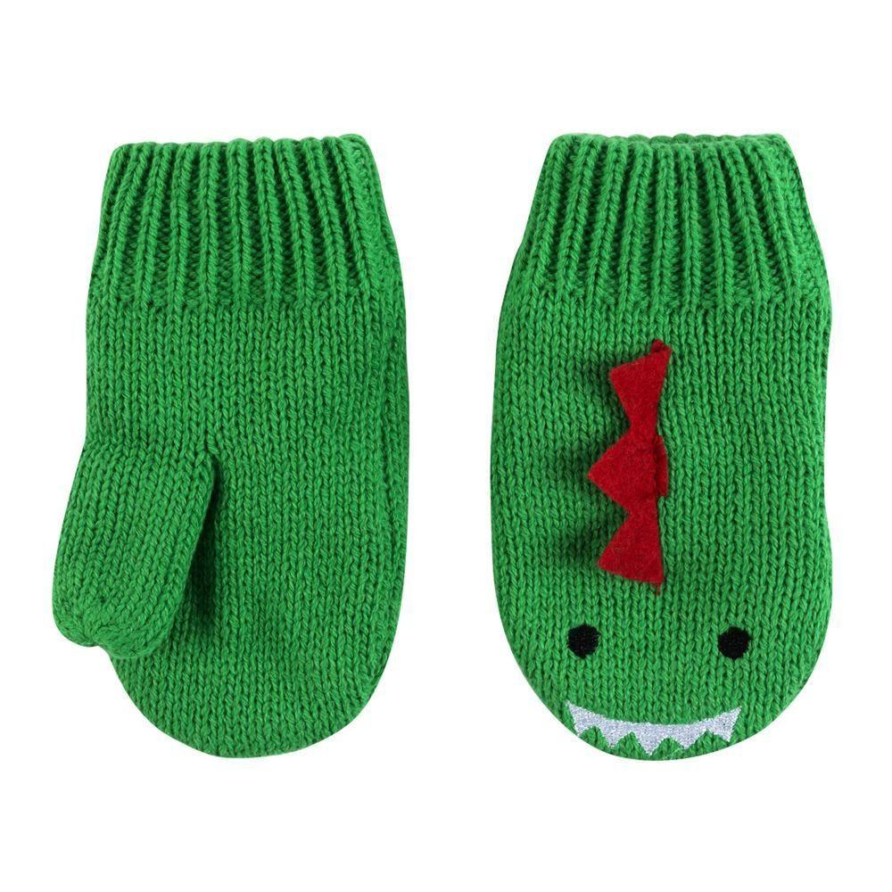 美國 ZOOCCHINI - 雙層羊毛襯裡針織手套-恐龍