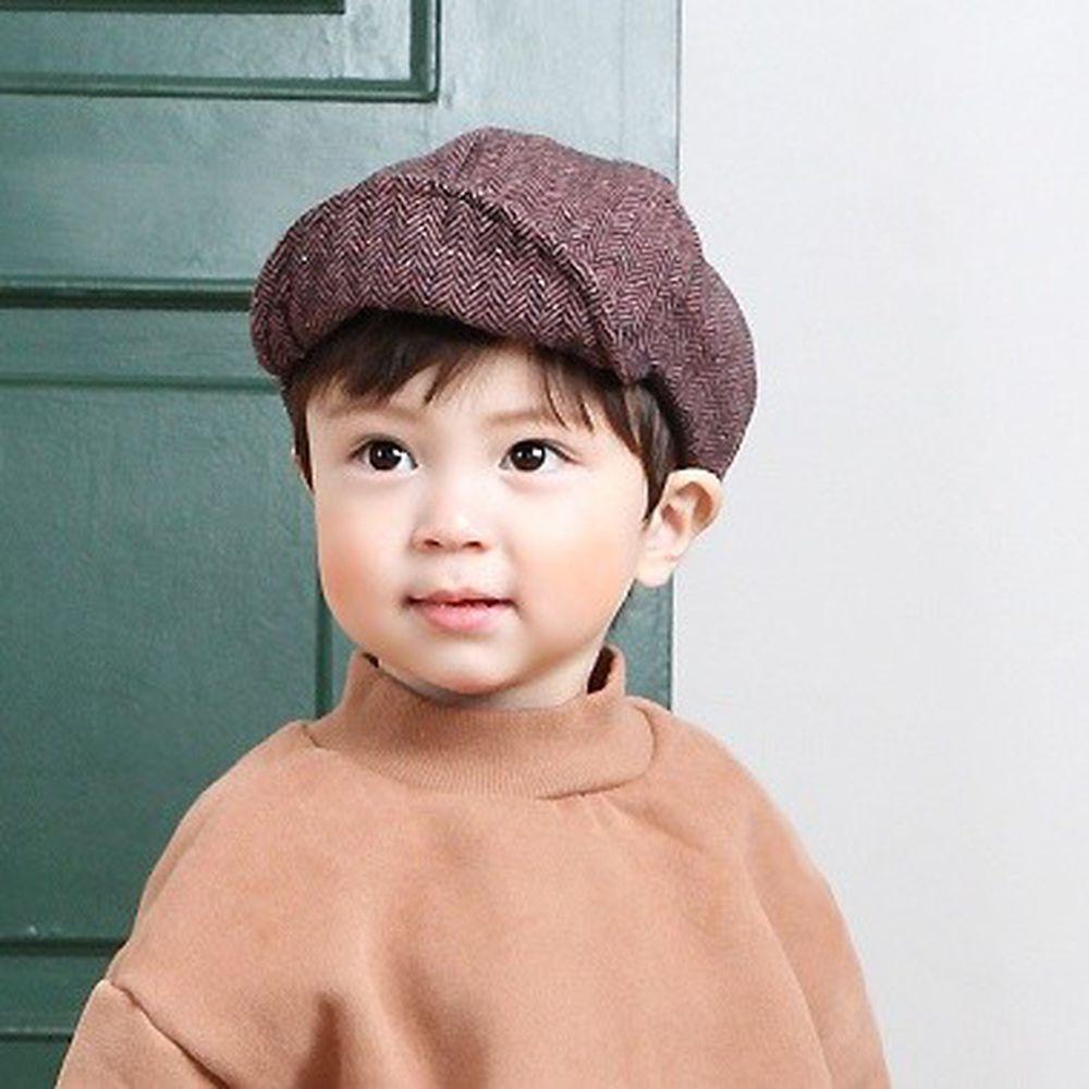 韓國 Babyblee - 紋路棒球帽-棕紅 (FREE)