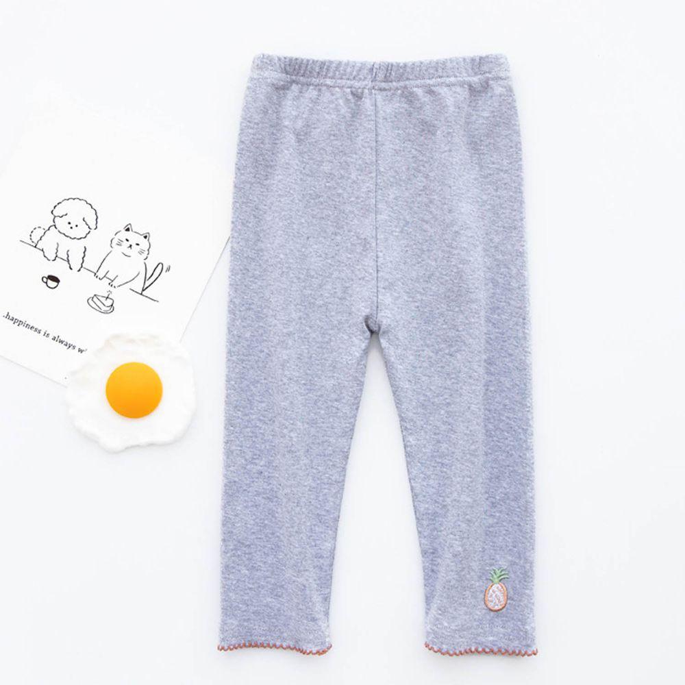 FANMOU - 七分內搭褲(棉質)-刺繡鳳梨-灰色