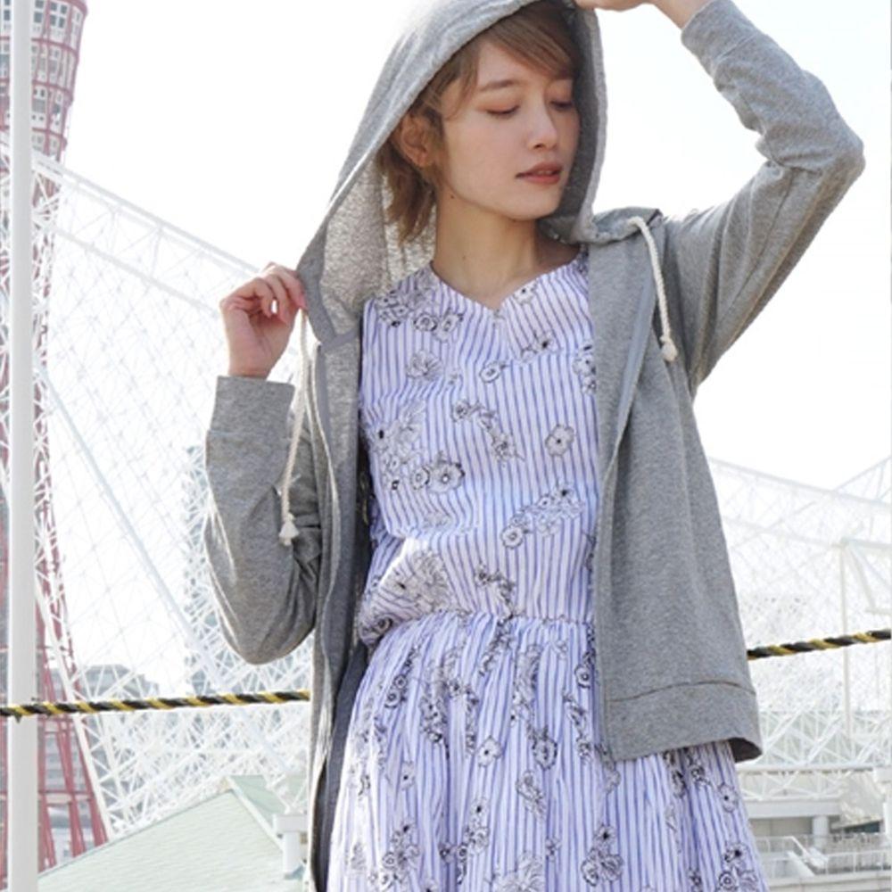 日本 zootie - 撥水X吸水速乾加工 抗透汗純棉防曬連帽外套-淺灰