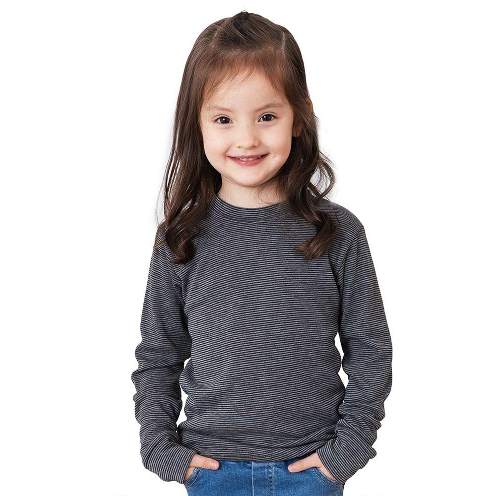 GIAT - 兒童立領條紋輕刷毛保暖衣-深灰/中灰條紋