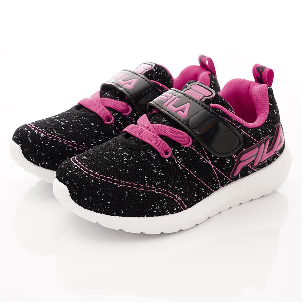 FILA - 運動童鞋-針織簡約慢跑鞋款(中大童段)-黑桃