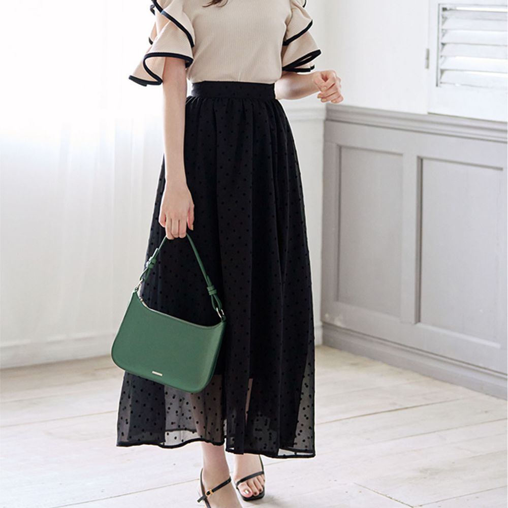 日本 GRL - 復古圓點點雪紡長裙-黑