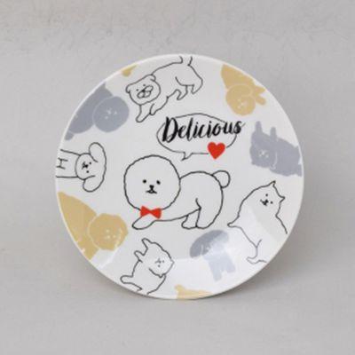 可愛小狗插畫小點心盤-Φ11.5x1.5cm
