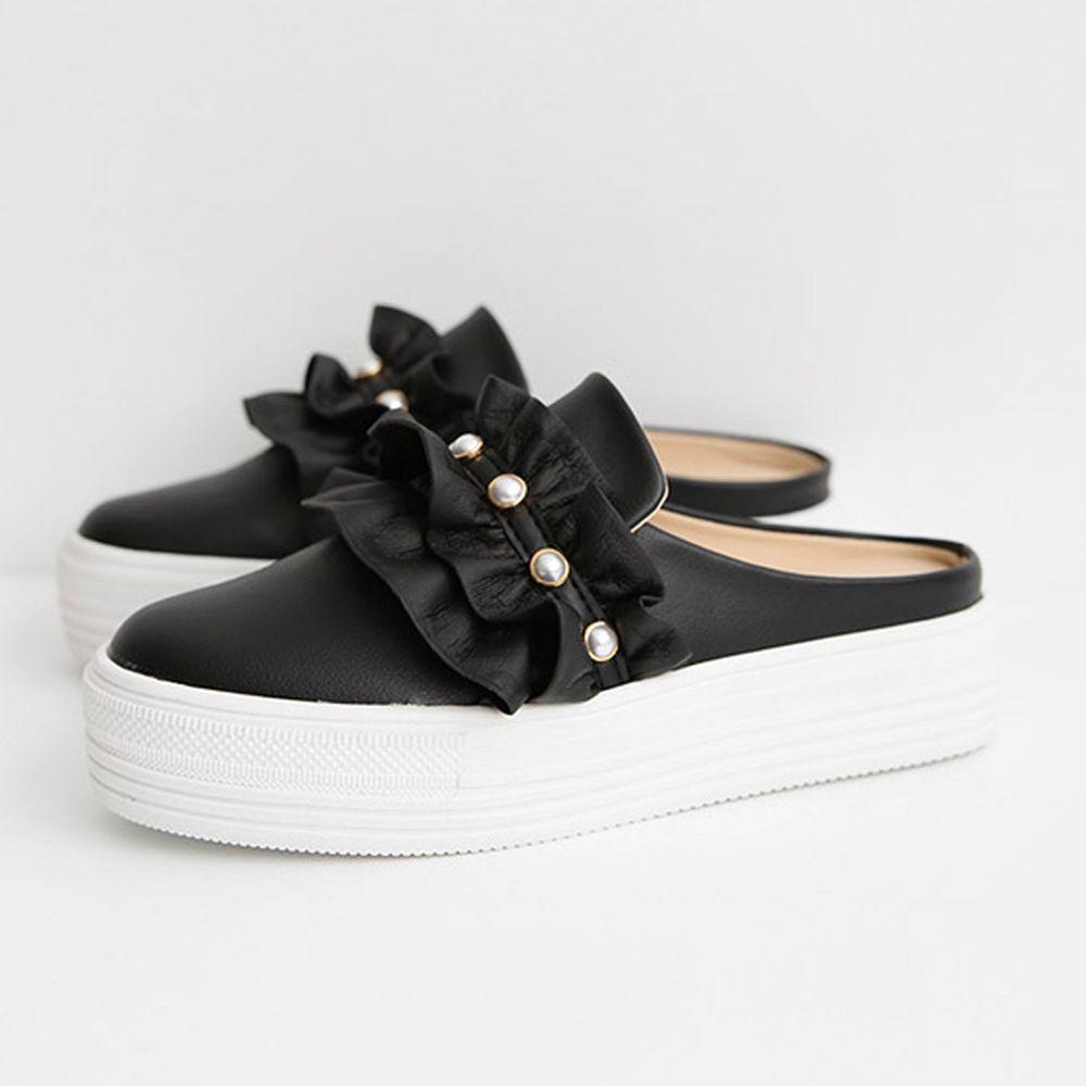 韓國 Dangolunni - 珍珠荷葉後底穆勒鞋(5cm高)-黑