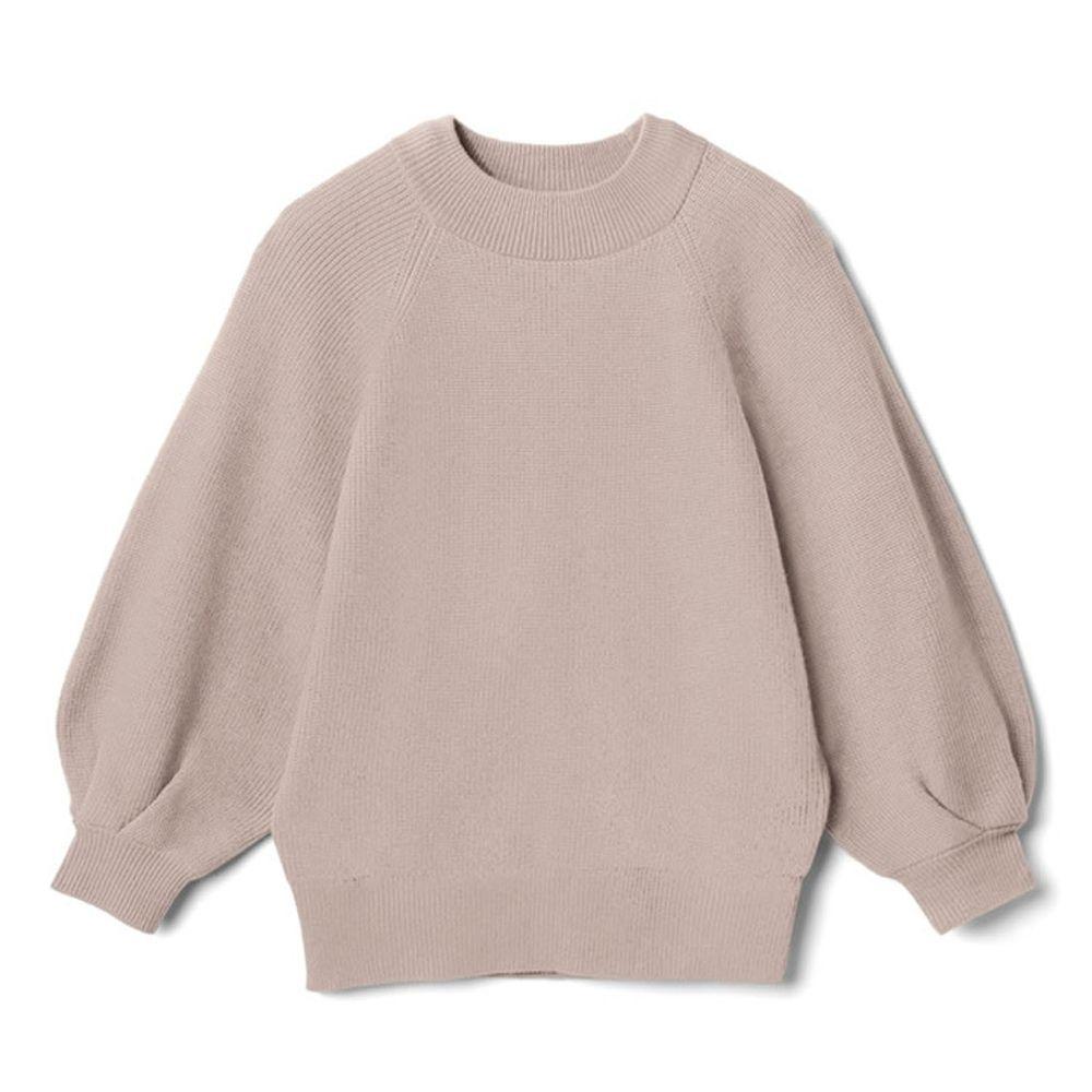 日本 GRL - 小高圓領七分袖薄款針織上衣-杏