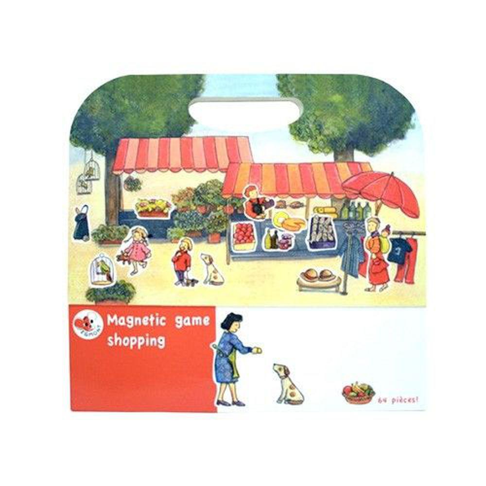 比利時艾格蒙 - 繪本風磁鐵書-購物市集-25x24x1 cm