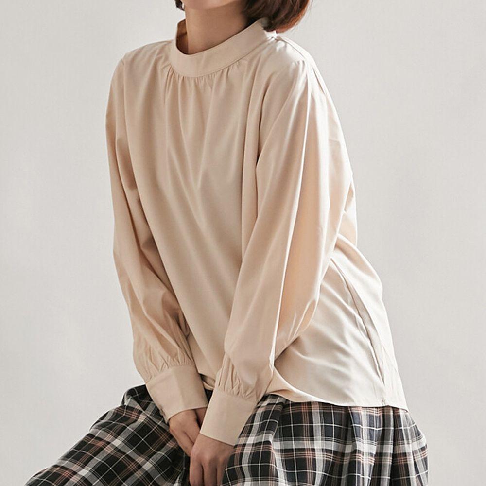 日本女裝代購 - 復古立領燈籠袖長袖上衣-杏