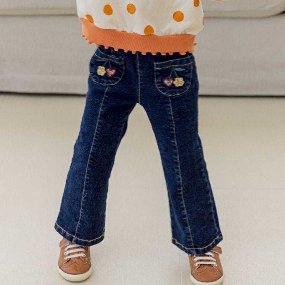 韓國 Orange Mom - 刺繡櫻桃牛仔喇叭褲