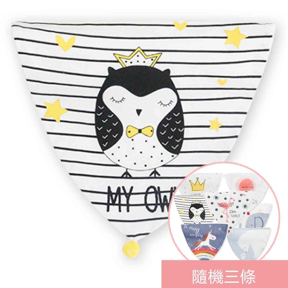 荷蘭 Muslintree - 嬰兒吸汗巾墊背巾-4條入-貓頭鷹先生+隨機3條