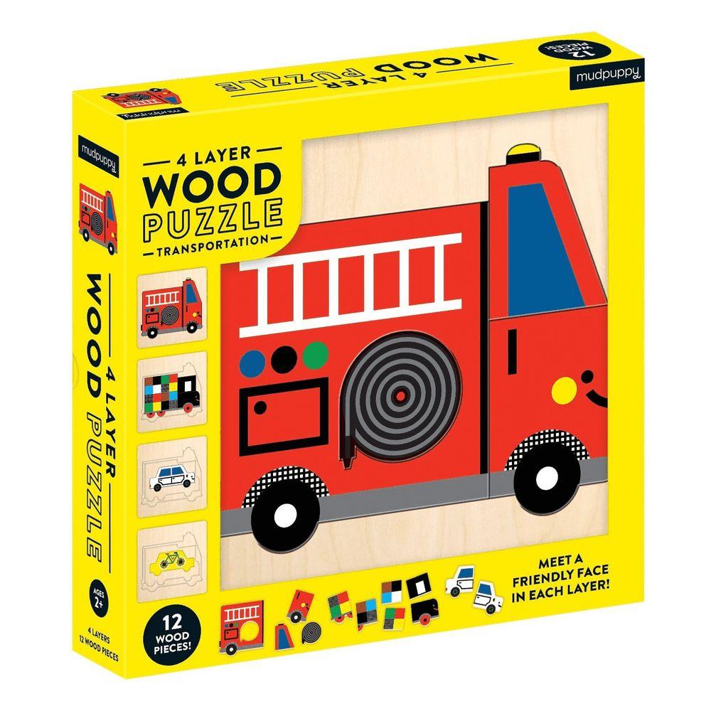美國 mudpuppy - 美國 mudpuppy-4層木質拼圖-交通工具-36片-交通工具-團購專案