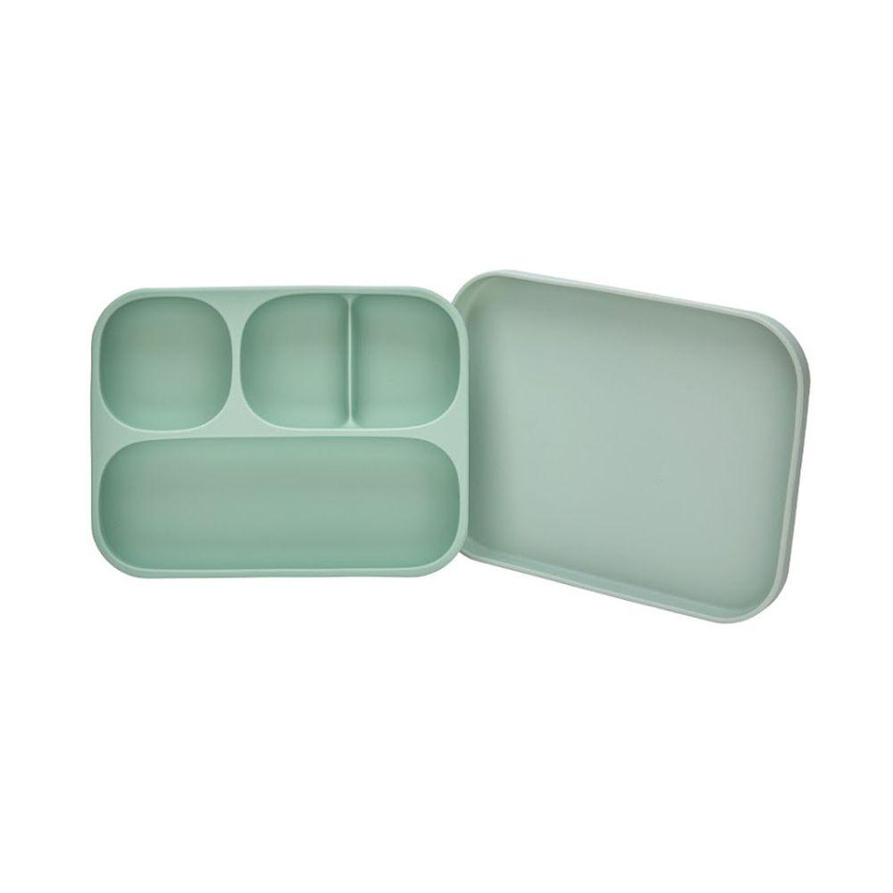 韓國 Moyuum - 白金矽膠吸盤式餐盤盒-薄荷綠