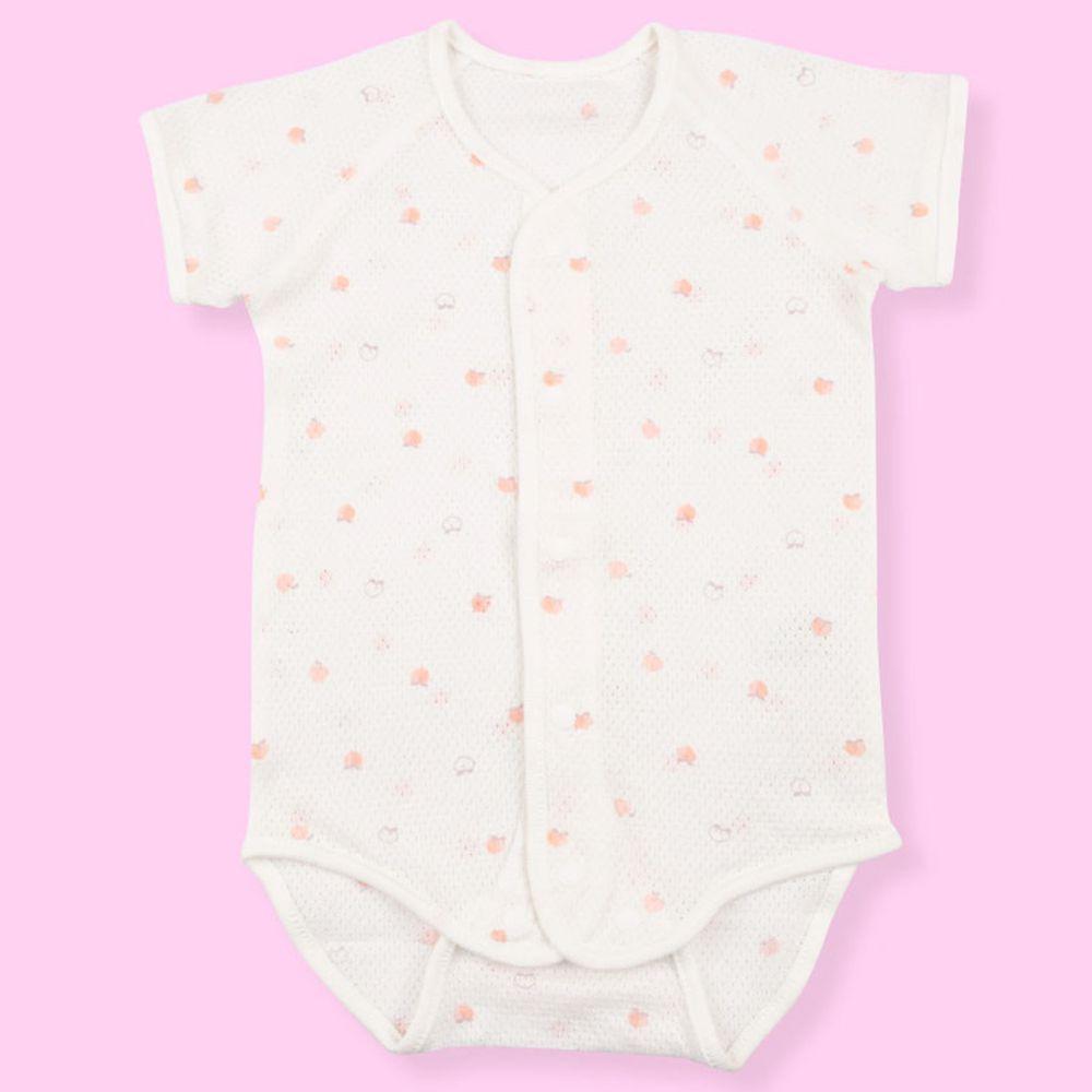 akachan honpo - 短袖前開式包屁衣-粉紅色 (80cm)