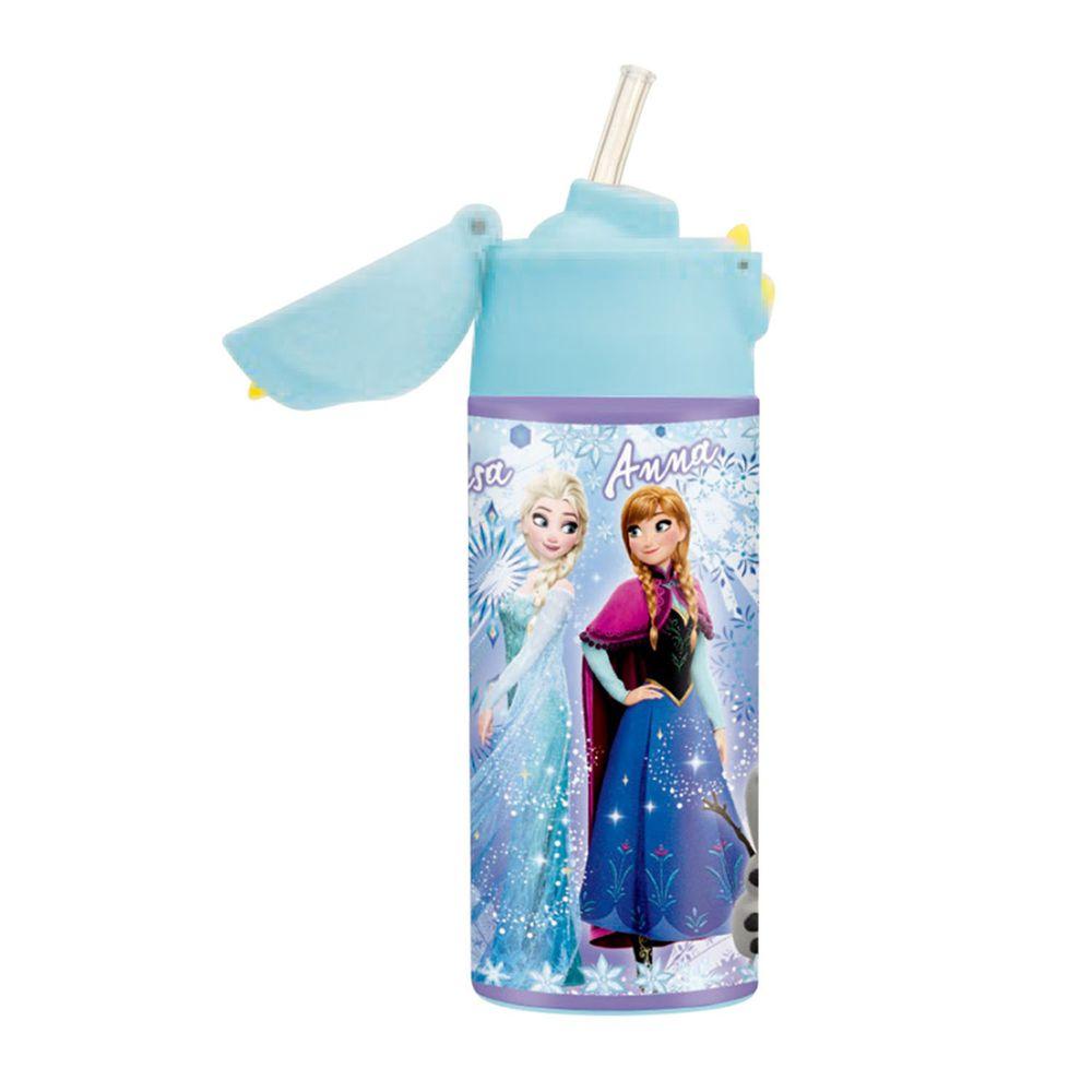 日本 SKATER - 不鏽鋼保溫吸管瓶(360ml)兒童水壺-冰雪奇緣