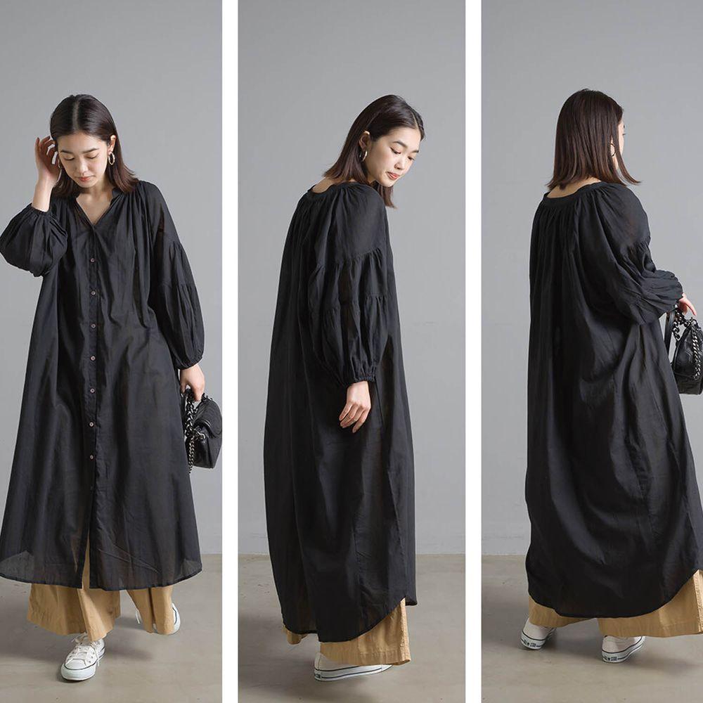 日本女裝代購 - 清涼薄透感純棉長袖中山領襯衫洋裝/外套-黑