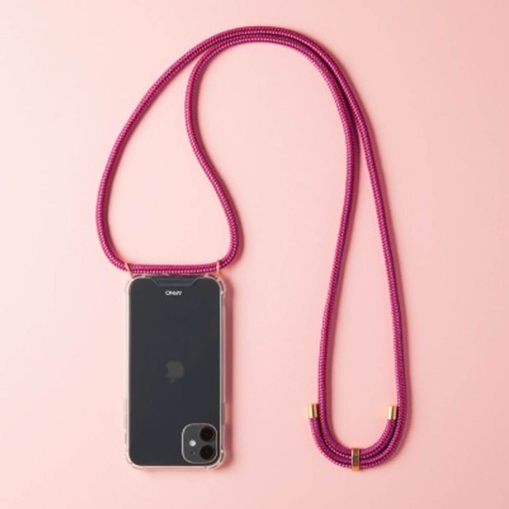 韓國 ARNO - 編繩背帶透明手機殼-醬紫粉