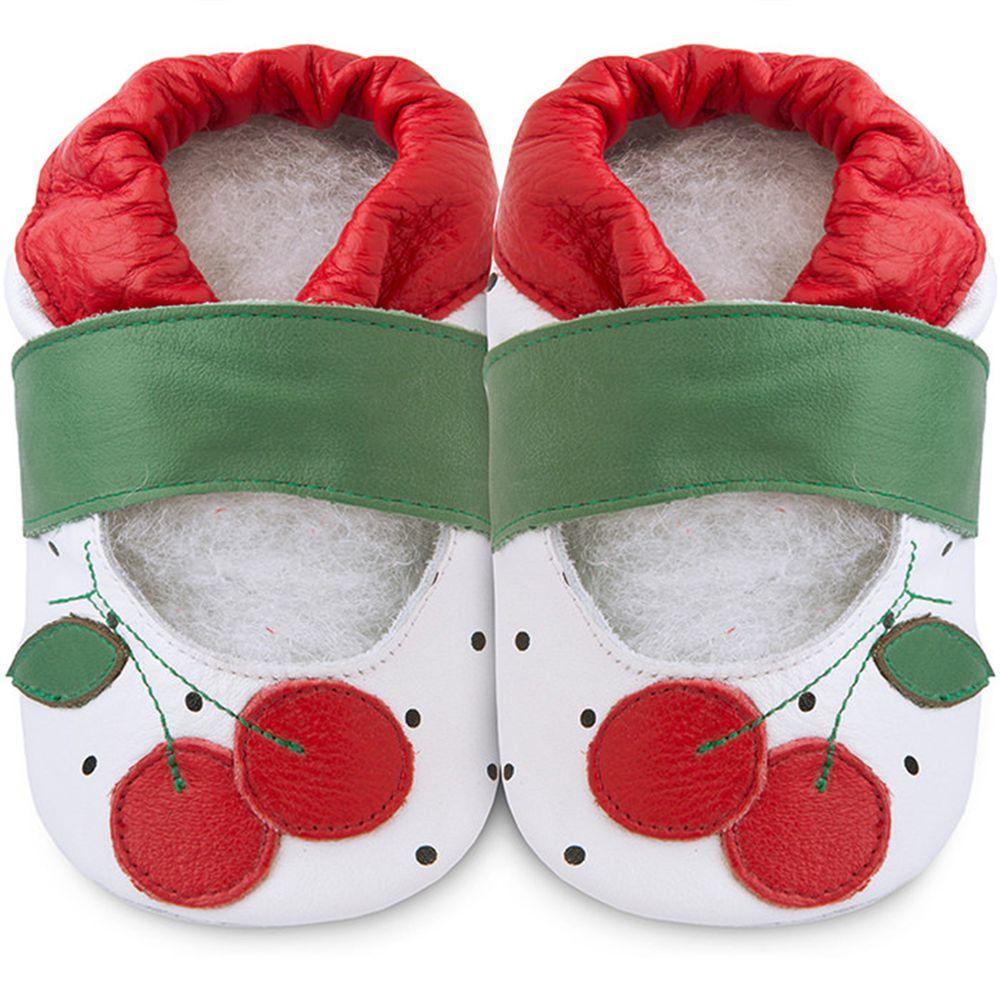 英國 shooshoos - 健康無毒真皮手工鞋/學步鞋/嬰兒鞋/室內鞋/室內保暖鞋-紅櫻桃
