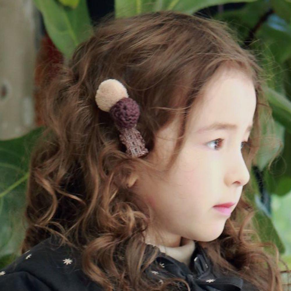 韓國 PuellaFLO - 針織毛球髮飾/髮夾-杏X香檳紫