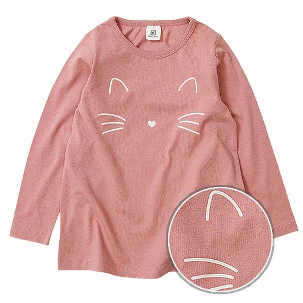 日本 devirock - 純棉 定番百搭印花長T-小貓-粉紅