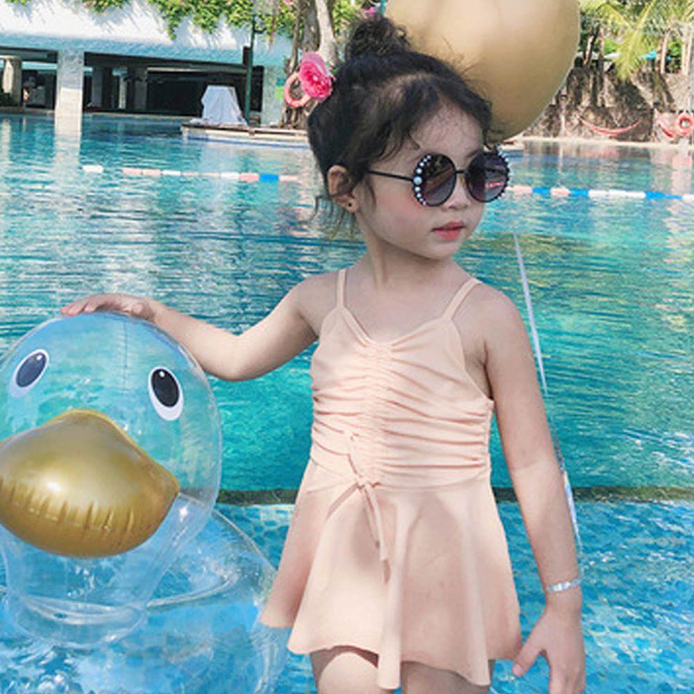 抽繩蝴蝶結兒童泳裝-橘色