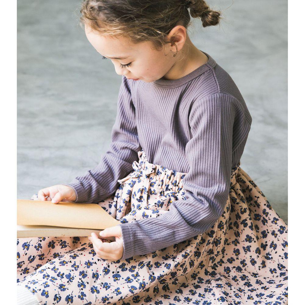 日本 PAIRMANON - 上下拼接鬆餅紋長袖洋裝-碎花-紫X粉