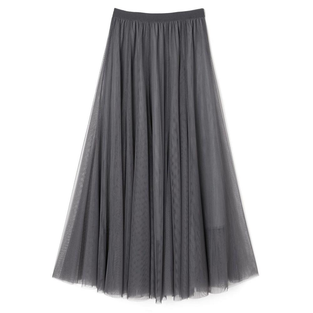 日本 GRL - 飄逸顯瘦雙層傘紗裙-率性灰 (M)