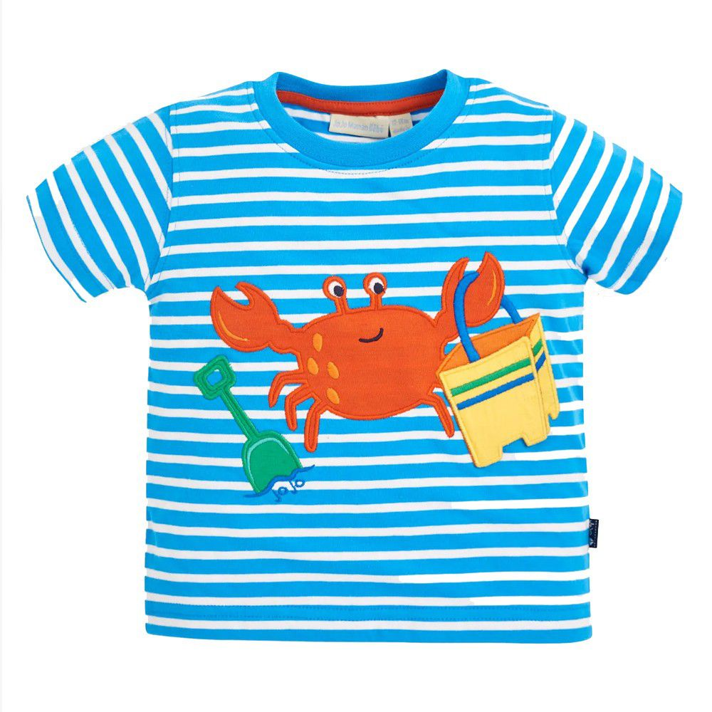 英國 JoJo Maman BeBe - 超優質嬰幼兒/兒童100%純棉短袖上衣/T-shirt/動物T-淘氣螃蟹